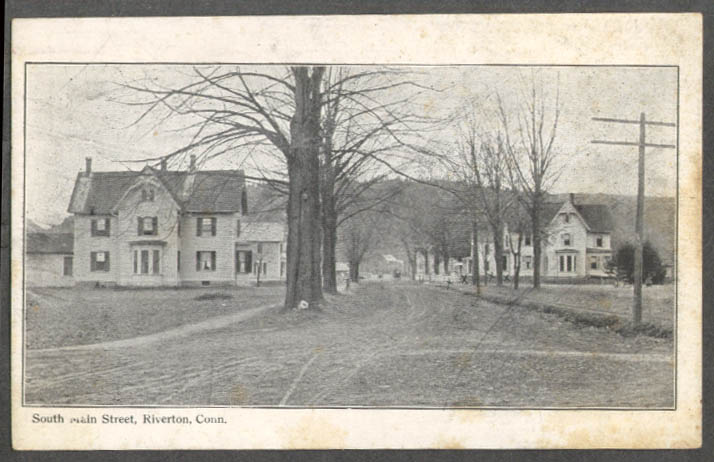 Image for View up South Main Street Riverton CT postcard 1910s