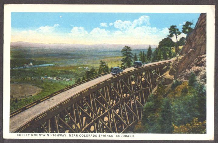 Corley Mountain Highway Trestle Colorado Springs CO postcard 1910s