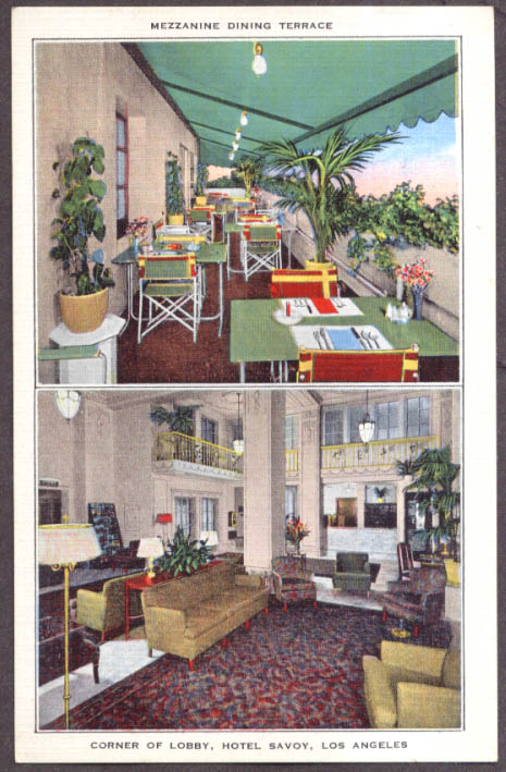 Image for Mezzanine Dining Terrace & Lobby Hotel Savoy Los Angeles CA postcard 1930s