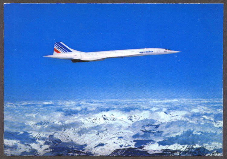 Air France Concorde airliner in flight airline issue postcard 1975