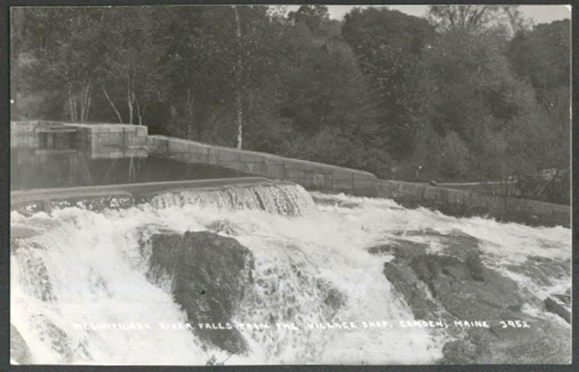 Megunticook River Falls from Village Shop Camden ME RPPC ca 1920s