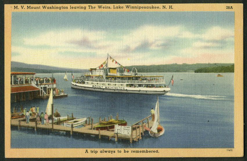 M V Mount Washington leaving Weirs NH Lake Winnepesaukee postcard 1940s