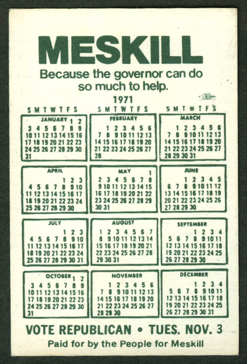 Thomas Meskill for Connecticut Governor pocket calendar 1971