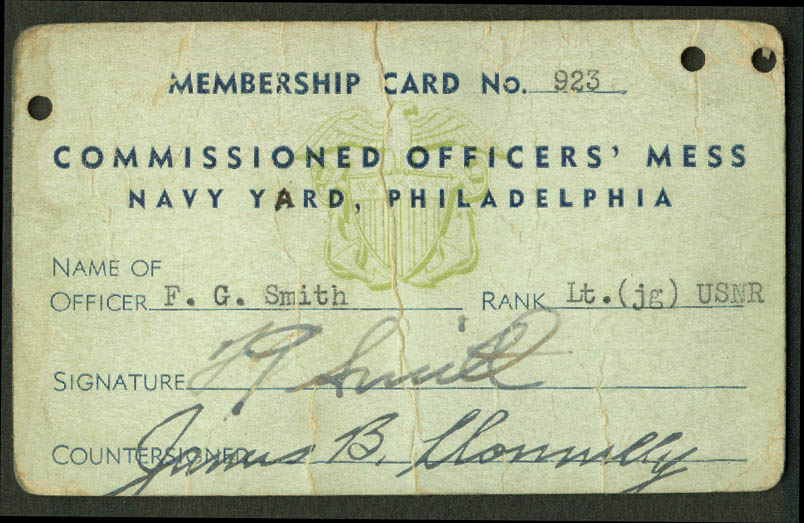 Commissioned Officers Mess Philadelphia Navy Yard Membership Card