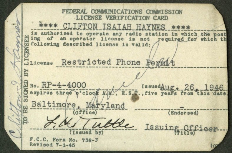 FCC License Verification Card Restricted Phone Permit 1946