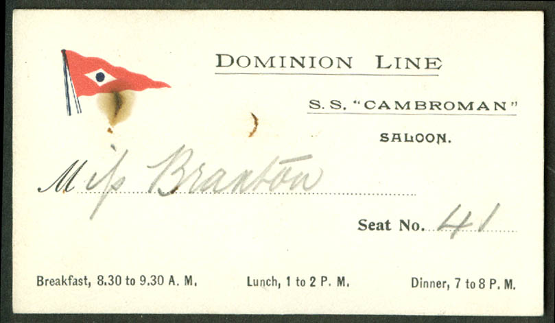 Dominion Line S S Cambroman Saloon Dining Room card ca 1910