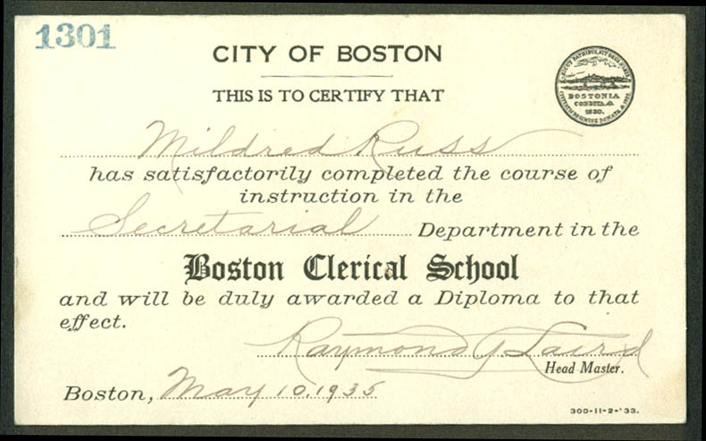 City of Boston Clerical School Secretarial Certification Card 1935