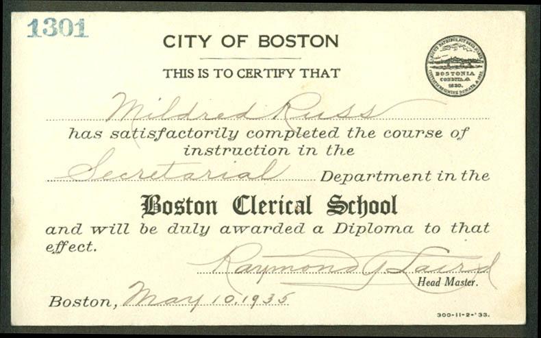 City of Boston Clerical School Secretarial Certification Card 1935