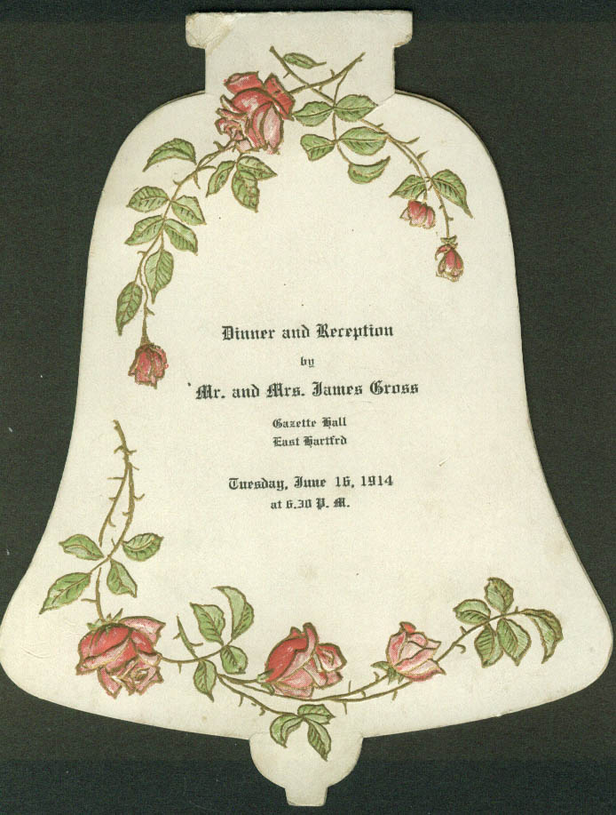 Mr & Mrs James Gross Dinner & Reception Menu East Hartford CT 1914