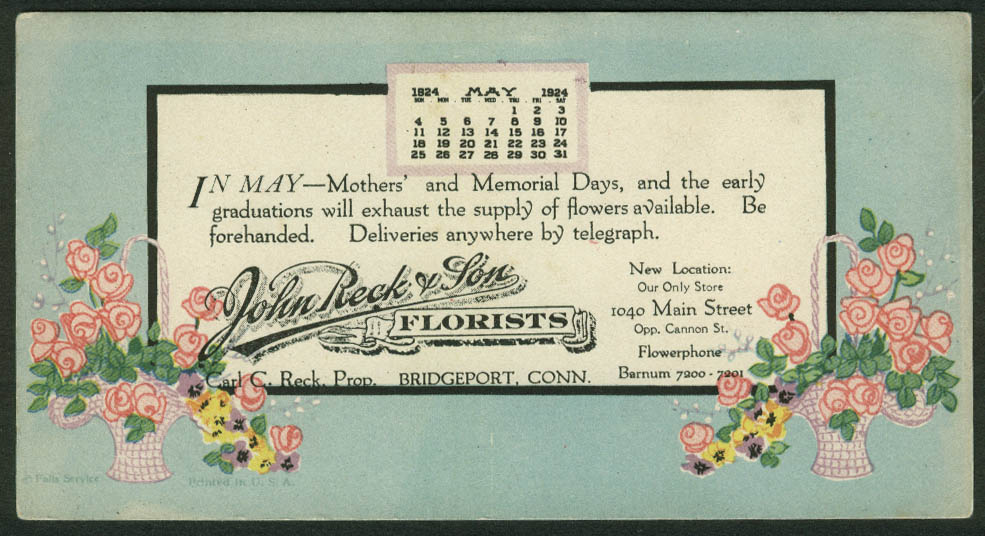 John Beck & Sons Florists Bridgeport CT calendar blotter May 1924