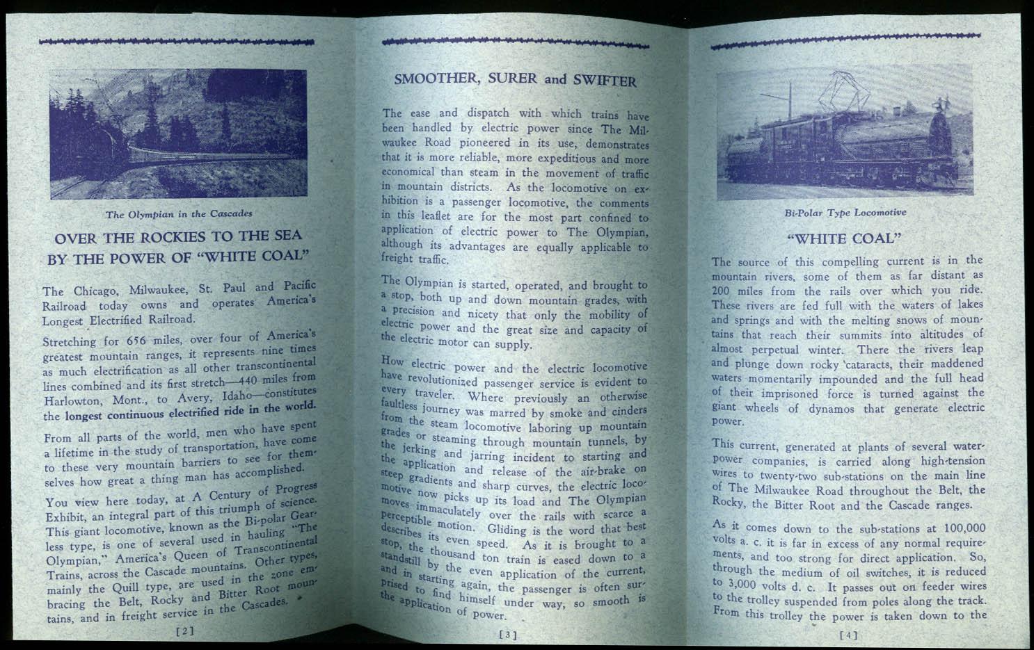 Sparks Milwaukee Road Electrification Exhibit Century of Progress 1933 folder
