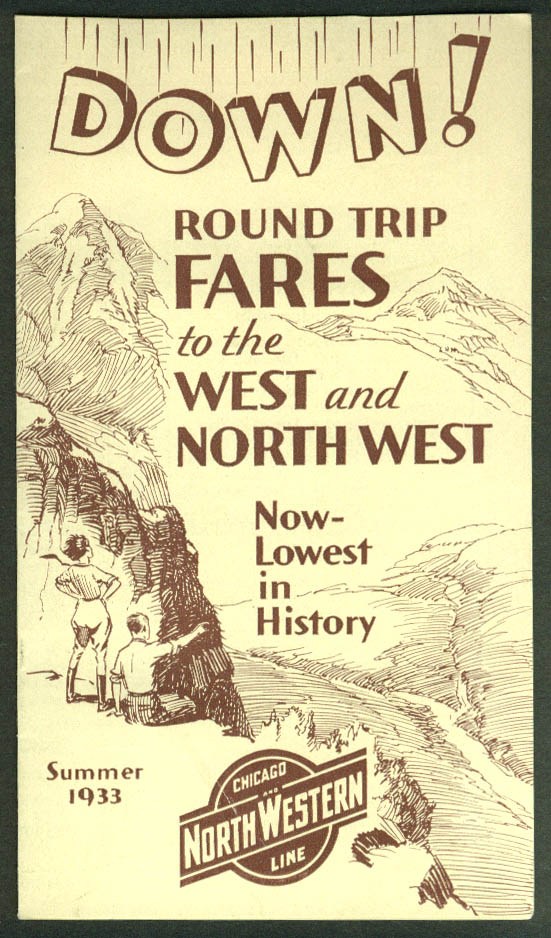 Chicago & Northwestern Round Trip Fares folder 1933 Century of Progress