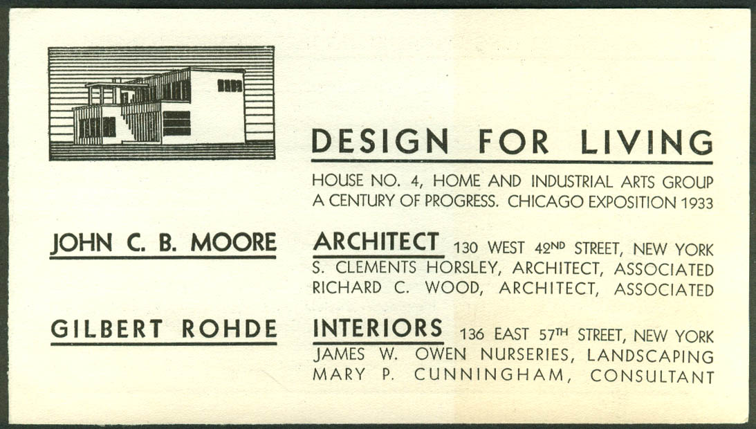 Moore & Rohde House #4 Design for Living Century of Progress exhibit folder 1933