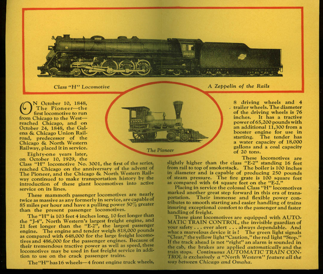 Chicago & Northwestern Class H Locomotive Century of Progress folder 1933