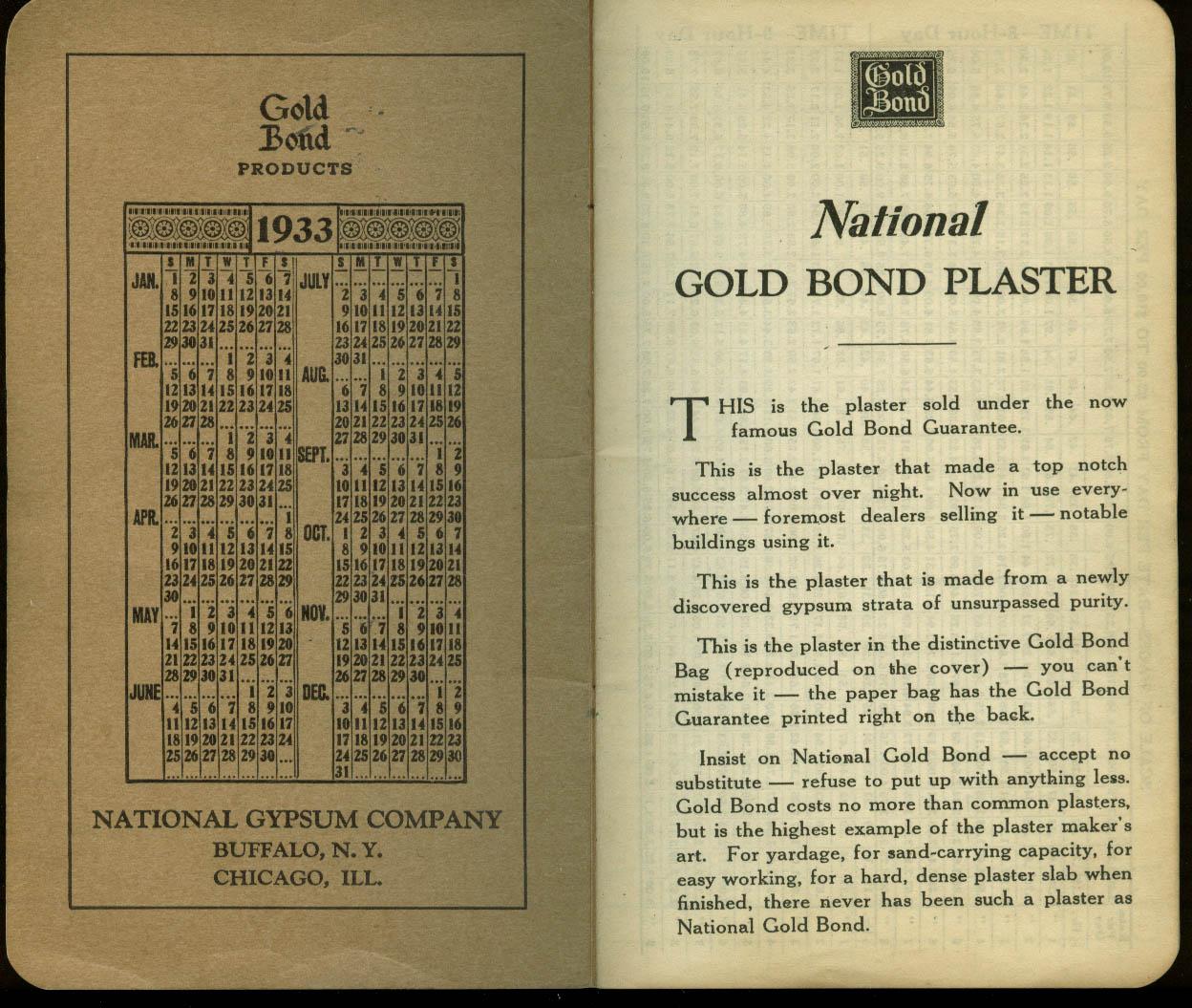National Gold Bond Plaster Time Book 1933 1934