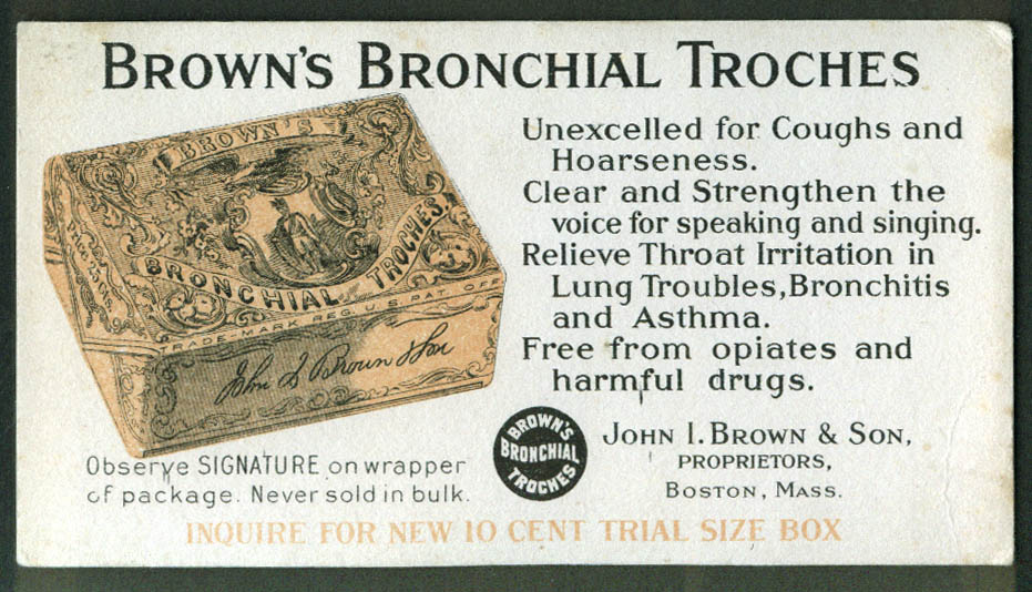 Brown's Bronchial Troches Boston MA advertising blotter ca 1910