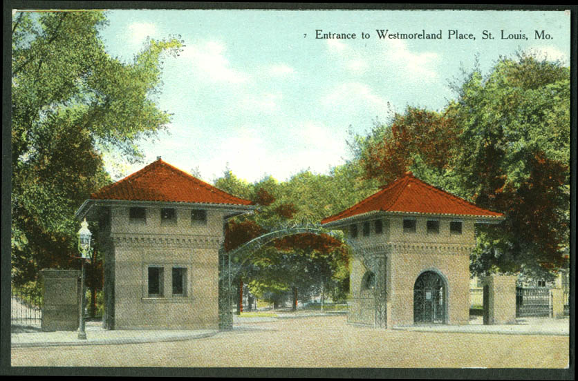 Entrance to Westmoreland Place St Louis MO postcard 1900s