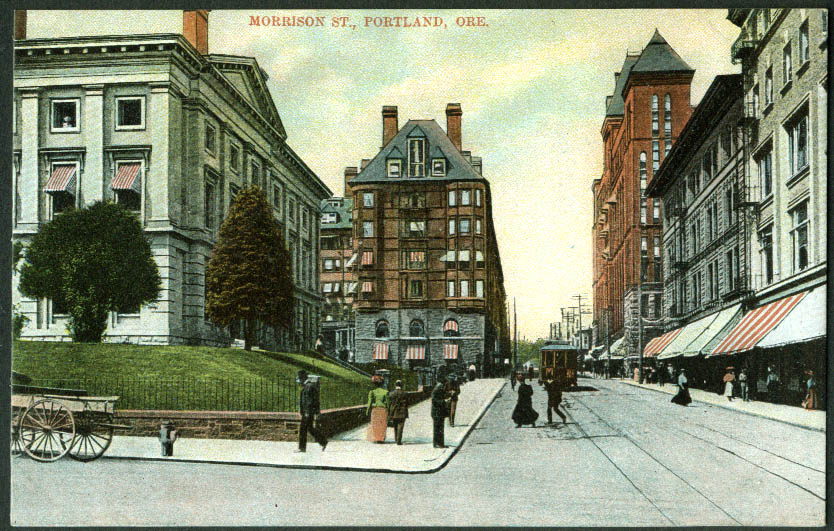 View up Morrison Street Portland OR postcard 1900s trolley awnings
