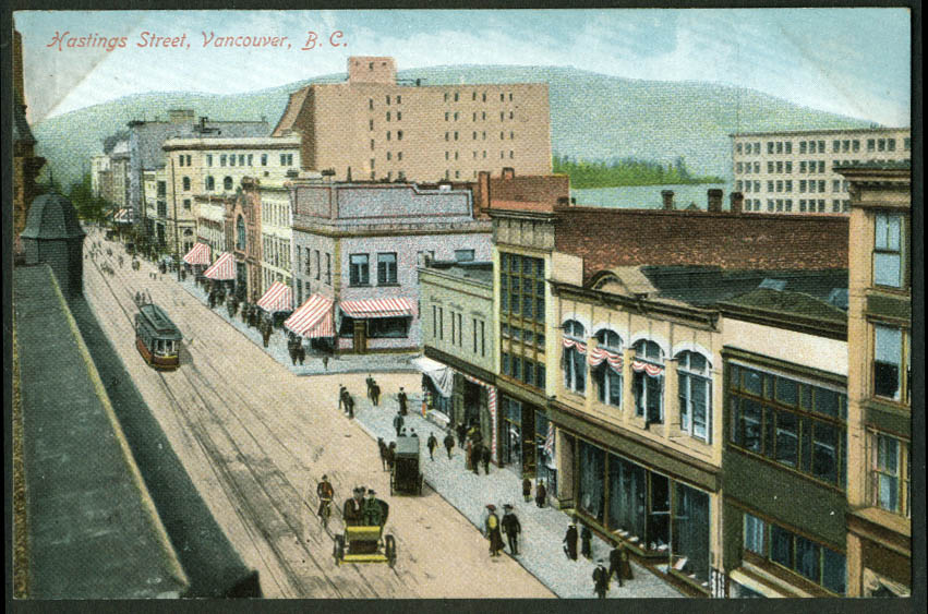 View up Hastings Street Vancouver BC Canada postcard 1900s