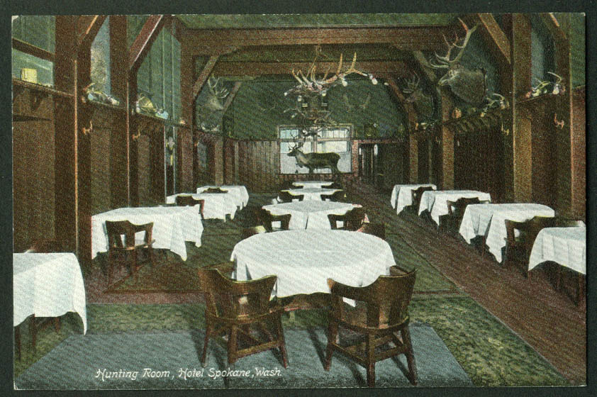 The Hunting Room Hotel Spokane WA postcard 1900s