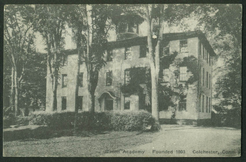 Green Academy founded 1803 Colchester CT postcard 1950s
