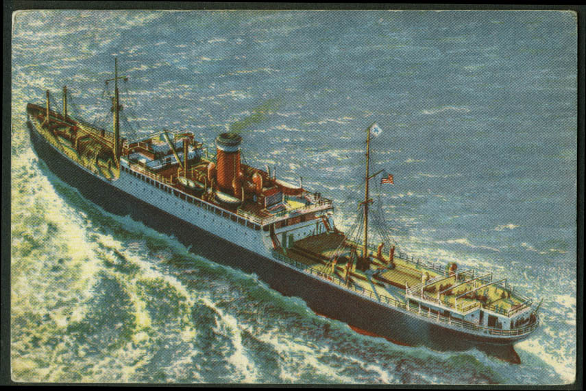 Panama Pacific S S City of LA SF Norfolk Baltimore Newport News postcard 1940
