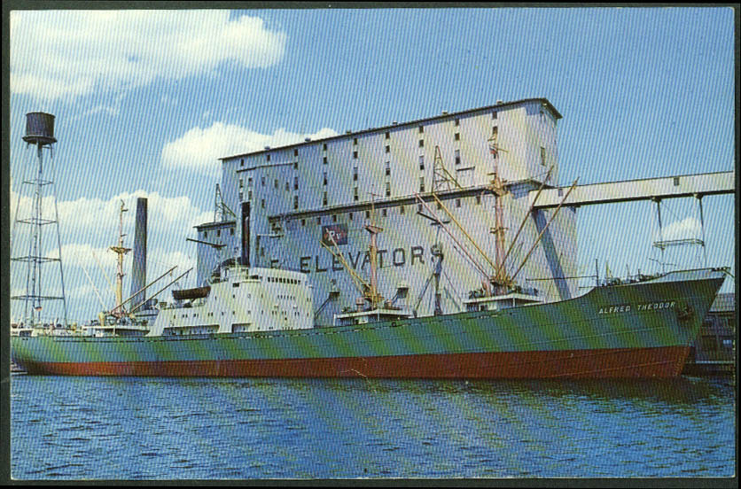 Schulte & Bruns freighter S S Alfred Theodor Globe Elevator MN postcard 1950s
