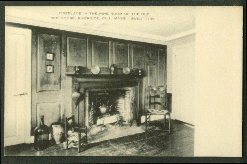 Pine Room Fireplace Red House Riverside Gill MA postcard 1930s