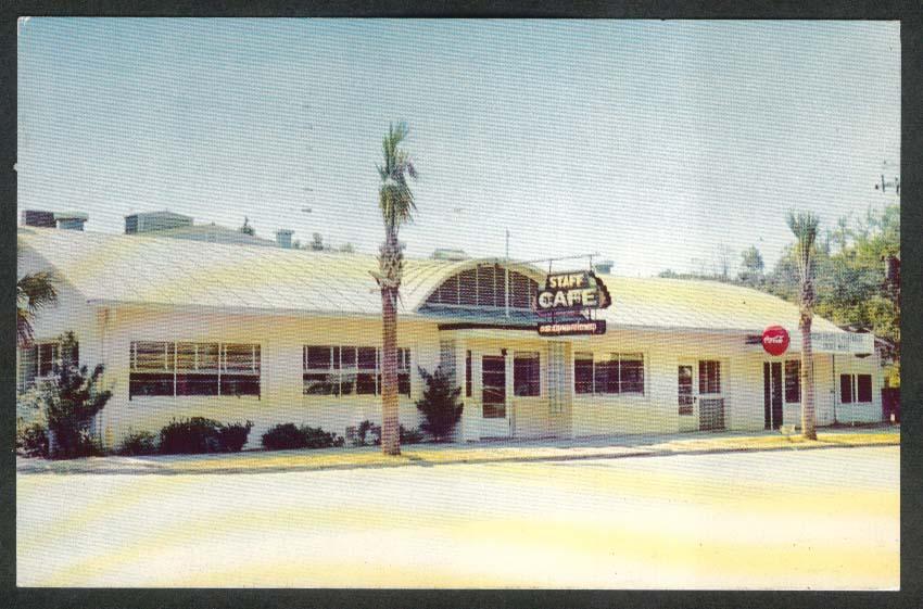 Staff Café Coca-Cola Sign Fort Walton FL postcard 1955