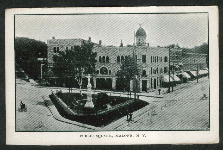 Public Square Malone NY undivided back postcard 1906