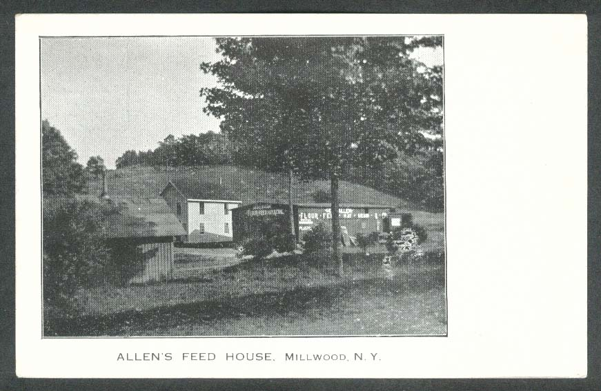 George Allen's Feed House Flour Hay & Coal Millwood NY postcard 1920s