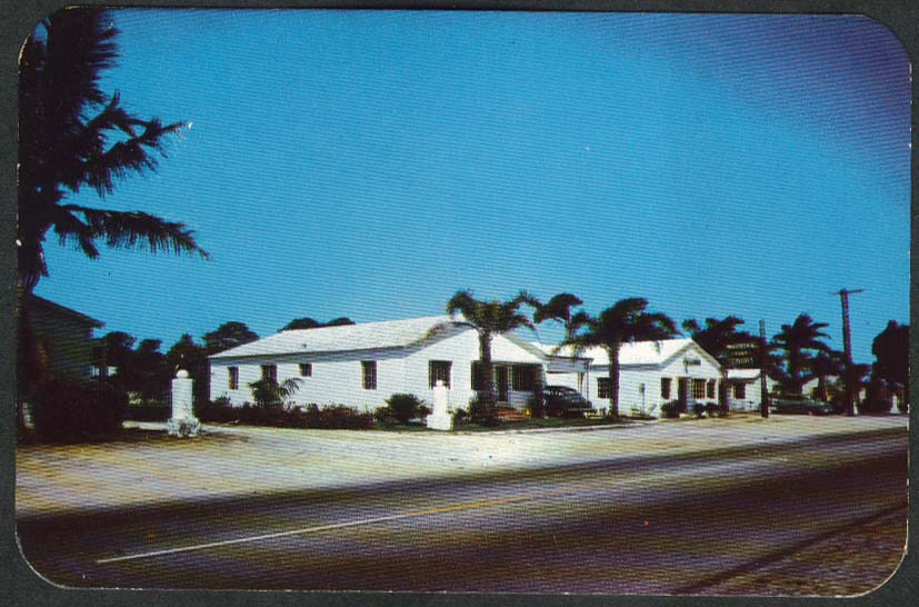 Whispering Pines South Dixie Highway Fort Pierce FL postcard 1951