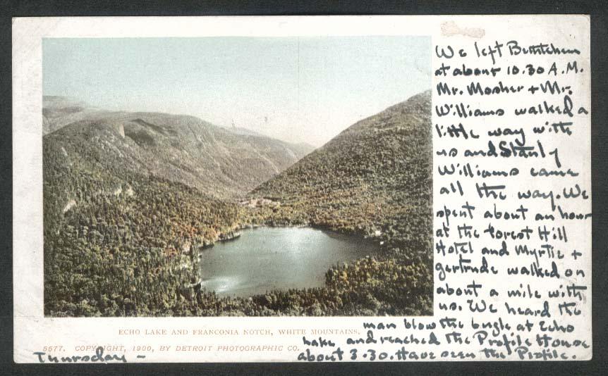 Echo Lake Franconia Notch White Mountains NH undivided back postcard 1905