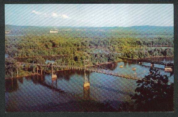 Mississippi River Bridge Prairie du Chien WI postcard 1958