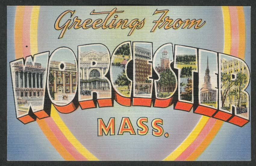 Greetings from Worcester MA large letter postcard 1940s