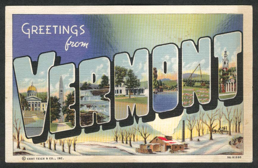 Greetings from Vermont Curt Teich large letter postcard 1943