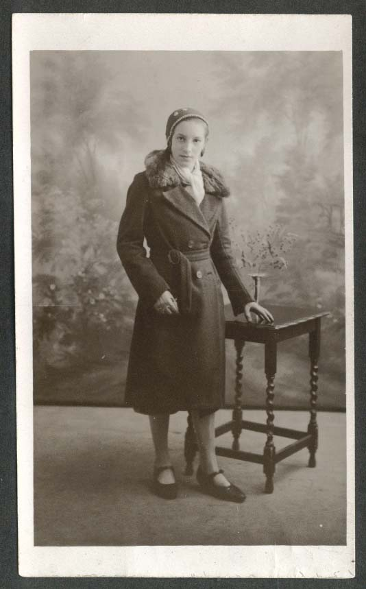 12 year old girl in fur collared peacoat undivided back RPPC 1930s
