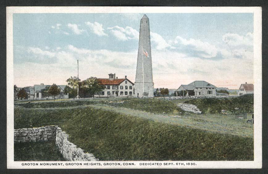 Groton Monument Groton Heights Groton CT postcard 1910s