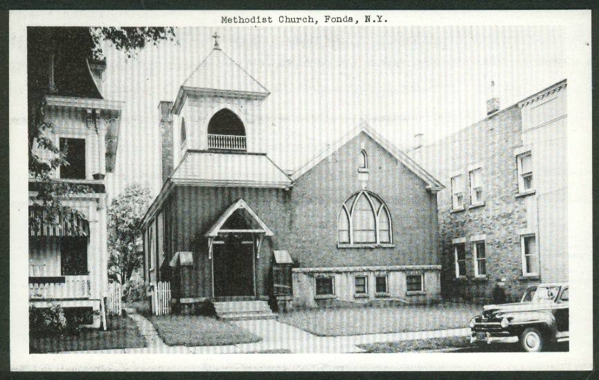 Methodist Church Fonda NY postcard 1950s