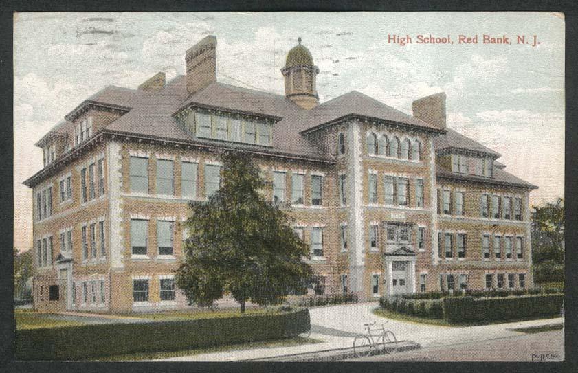 High School Red Bank NJ postcard 1912