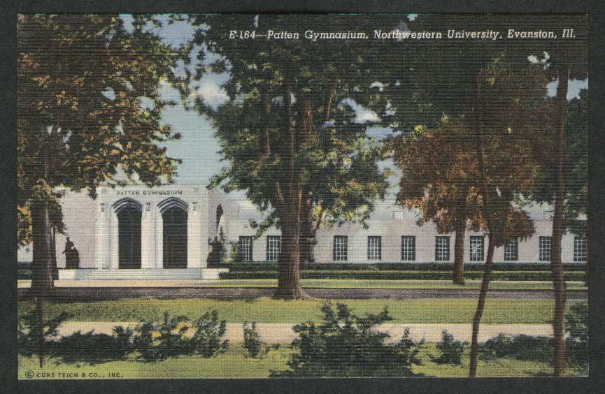 Patten Gymnasium Northwestern University Evanston IL postcard