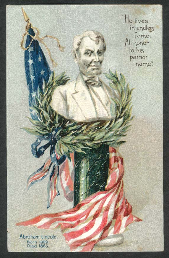 Abraham Lincoln endless fame honor his patriot name embossed postcard 1900s