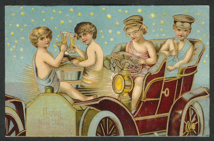 Happy New Year revelers driving auto embossed postcard 1900s
