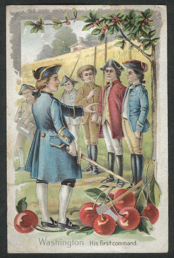 Washington His first command cherry tree embossed postcard 1900s