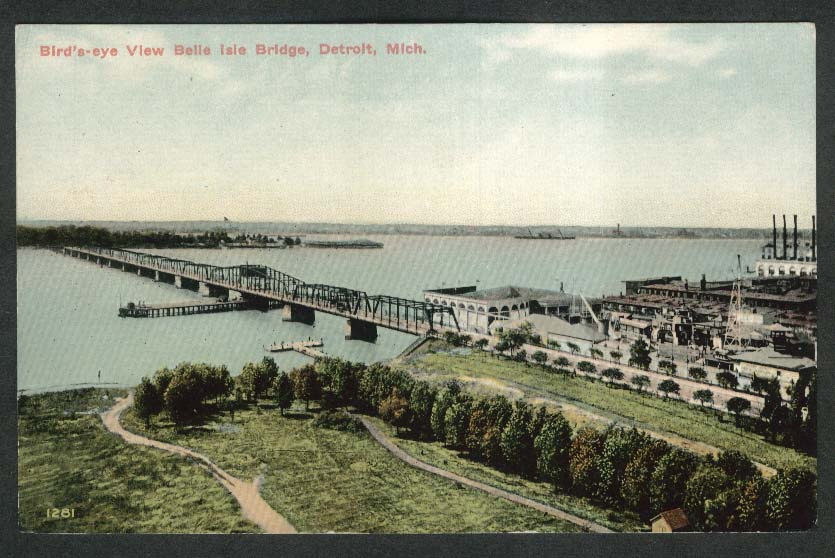 Bird's-eye View Belle Isle Bridge Detroit MI postcard 1910s