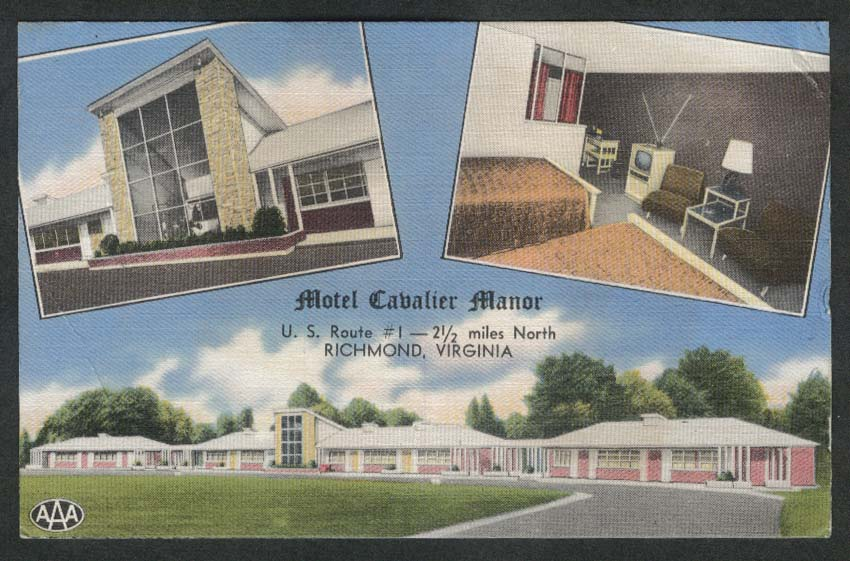 Motel Cavalier Manor US Route 1 Richmond VA postcard 1955