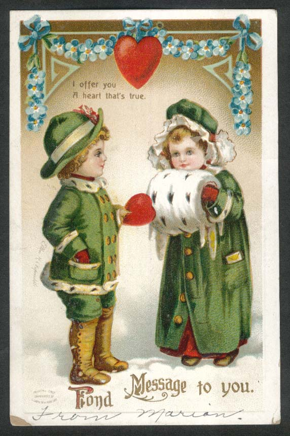 Fond Message to you Valentine embossed postcard 1911 muffler