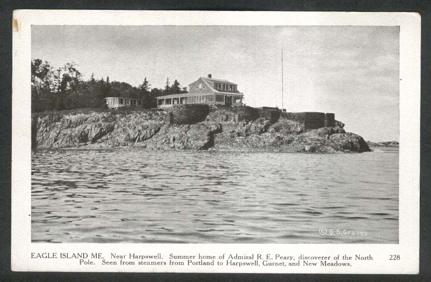 Admiral R E Peary summer home Eagle Island ME postcard 1930s