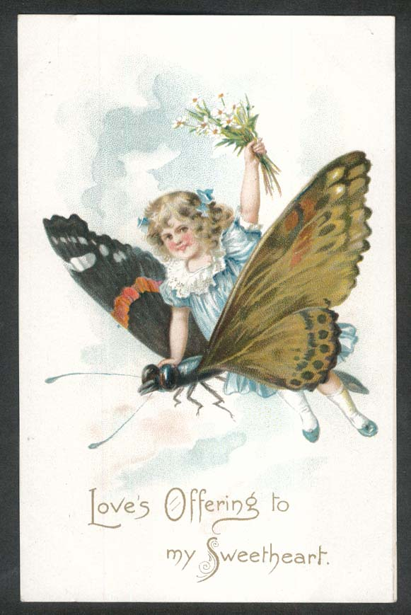 Love's Offering to my Sweetheart girl on butterfly embossed postcard 1910s
