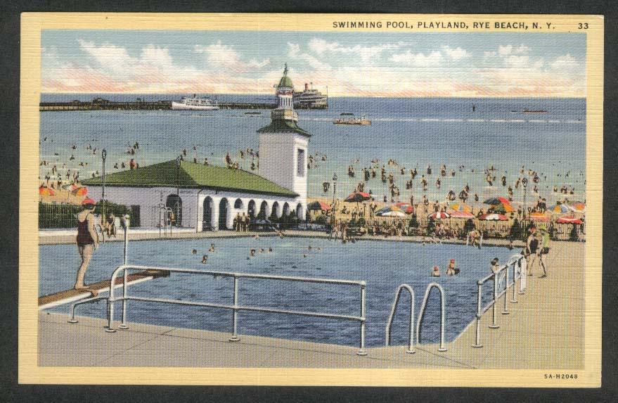 Swimming Pool Playland Rye Beach NY postcard 1930s